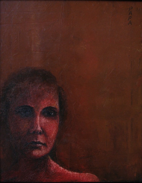 Lady in Red; Painting by Ralph Papa