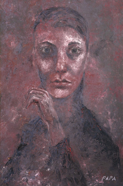 Theresa in Red; 1965 / Painting by Ralph Papa